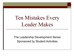 Ten Mistakes Every Leader Makes
