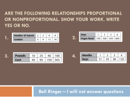 Are the following relationships proportional or