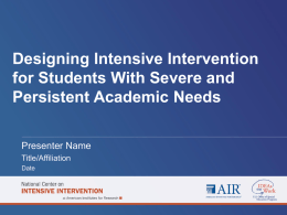 Considerations for Implementing Intensive Interventions