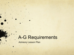 A-G Requirements - Alliance Christine O'Donovan Middle Academy