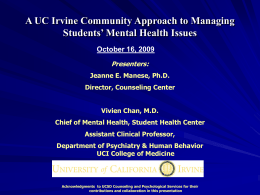 Substance Abuse - University of California, Irvine