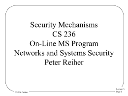 Introduction CS 239 Security for Networks and System