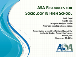 ASA Resources for Sociology in High School