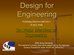 Design for Engineering - ETP - Engineering Technology Pathways
