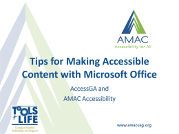 Introduction to Accessible Documents