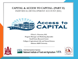 CAPITAL & ACCESS TO CAPITAL - Home
