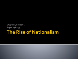 The Rise of Nationalism - Burlington County Institute of
