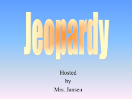 Jeopardy - Pleasant Valley School District