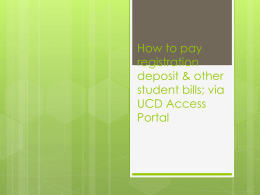 How to pay registration deposit via UCD Access Portal