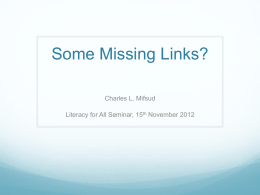 The Missing Links?