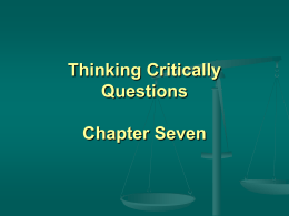 Thinking Critically Questions Chapter Seven