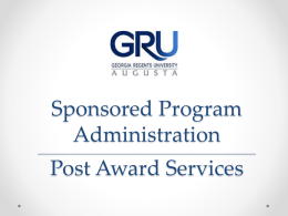 Sponsored Program Administration Post Award Services