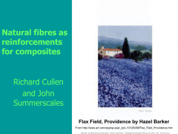 Natural fibres as reinforcements for composites