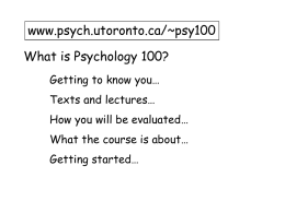What is Psychology? - University of Toronto