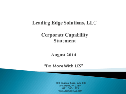Leading Edge Solutions, LLC Corporate Capabilites Statement
