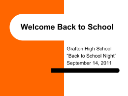 Welcome Back to School - Grafton School District