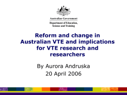 Reform and change in Australian VET and implications for