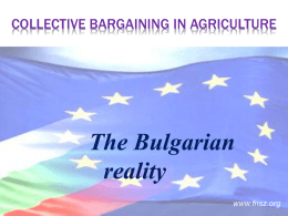 the collective bargaining in Agriculture – the Bulgarian