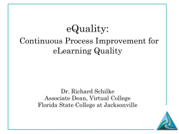 Continuous Process Improvement for eLearning Quality