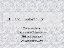 EBL and Employability - University of Manchester