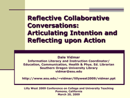 Reflective Peer Facilitation: Crafting Collaborative Self