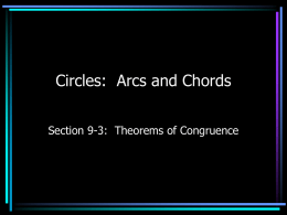Circles: Arcs and Chords
