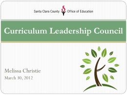 Curriculum Leadership Council - Santa Clara County Office