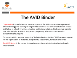 About the AVID Binder - Baldivis Secondary College