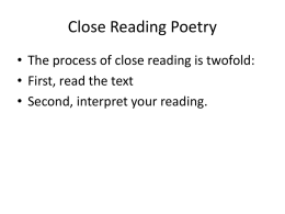 Close Reading Poetry - John Marshall High School