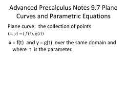 Advanced Precalculus Notes 9.7 Plane Curves and Parametric