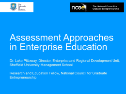 Assessment Approaches in Enterprise Education