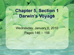 Chapter 5, Section 1 Darwin's Voyage