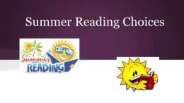Summer Reading Choices - Maine West High School