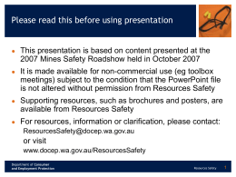 2005 Mines Safety Roadshow