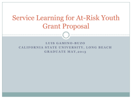 Implementation of Service Learning Program to Help At Risk