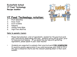 Y7 Recipes - Ecclesfield Design Technology