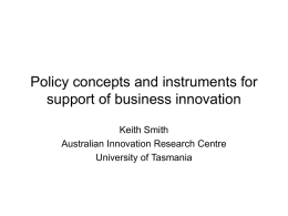 Policy concepts and instruments for support of business