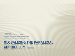 Globalizing the Paralegal Curriculum