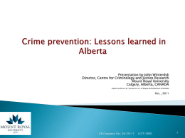 Crime Preventions: Lessons from across the 'pond'