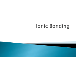 Ionic Bonding - Prairie Spirit School Division