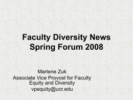Faculty Diversity News Spring Forum 2008