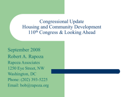 Housing and Economic Recovery Act of 2008 Summary of Key