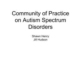 Community of Practice on Autism Spectrum Disorders