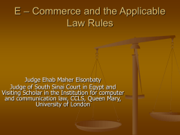 E–Commerce and the Applicaple law rules
