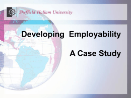 Developing Employability Case Study Professor Christine Booth