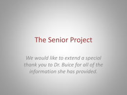 The Senior Project - Cherokee County School District
