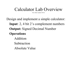 Calculator Lab Overview - University of Michigan