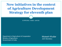 Recent New Initiatives - Ministry of Agriculture
