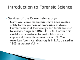 Introduction to Forensic Science - Mr. Catt's Class