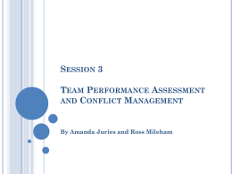 Session 3 Team Performance Assessment and Conflict Management